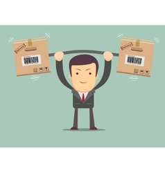 Delivery man Cartoon character with cartons box vector