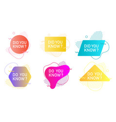 Did you know label set isolated vector