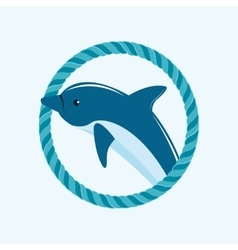 Dolphin emblem with rope image vector