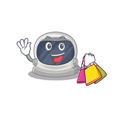 Famous astronaut helmet holding shopping bags vector