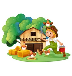 Farmer and barn vector image
