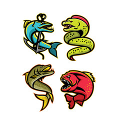 Ferocious fishes sports mascot collection vector
