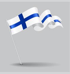 Finnish pin wavy flag vector