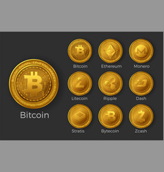 Golden cryptocurrency coin icon sets vector