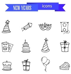 Hand draw icon of New Years vector image