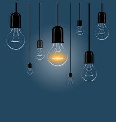 Hanging light bulbs with a luminous on a dark vector