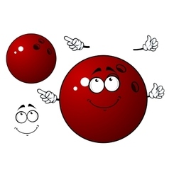 Happy bowling ball with waving hands vector image