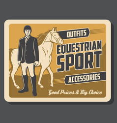horse and jockey of equestrian sport vector image