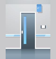 Hospital corridor hall with door empty no people vector