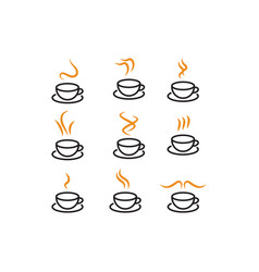 Hot coffee icon template collection vector