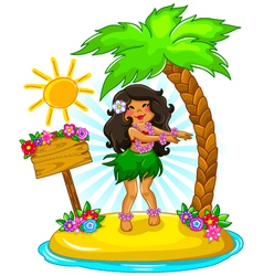 Hula girl vector