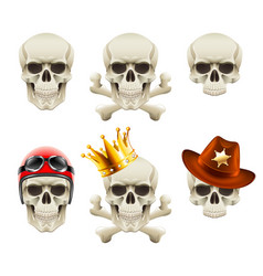 human skulls icons photo realistic set vector image