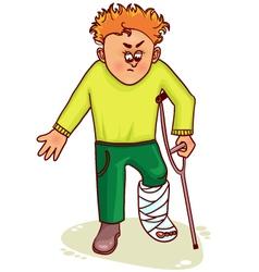 Ill little man with broken leg vector