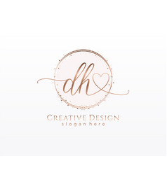 Initial dh handwriting logo with circle template vector