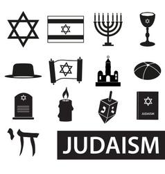 Judaism religion symbols set icons eps10 vector