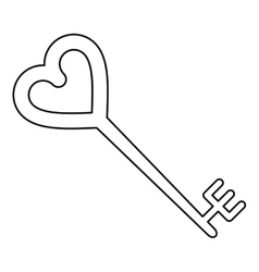 key shaped heart style outline vector image