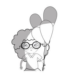 line pretty girl with balloons and casual wear vector image
