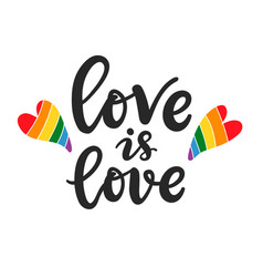 Love is love slogan gay lesbian lettering poster vector