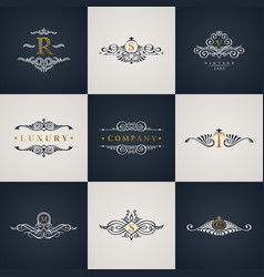 Luxury logo monogram set vintage royal flourishes vector