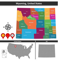 map of wyoming us vector image