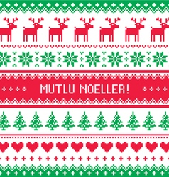 Merry Christmas in Turkish - Mutlu Noeller pattern vector