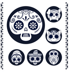 Mexican heads skulls set line style icons vector