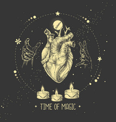 Modern witchcraft magic card with human heart vector