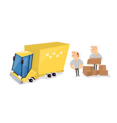 movers load boxes into a truck transport service vector image