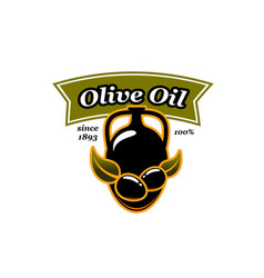 Olive oil jar and olives icon vector