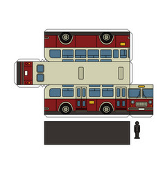 Paper model of a vintage city bus vector