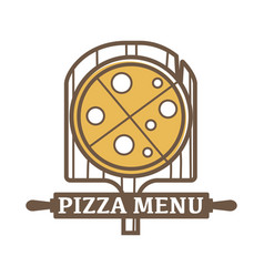 pizza menu emblem with wooden board and rolling vector image
