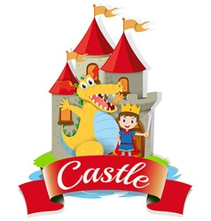 Prince and dragon at the castle vector
