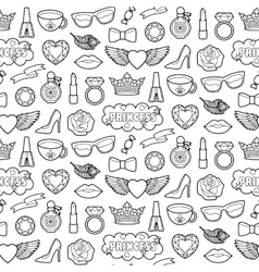 Princess Fashion Patches Seamless Pattern vector