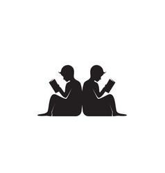 Reading book logo and symbols silhouette black vector