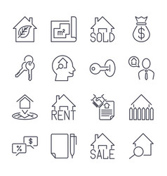 Real estate realtor deals icon set for sale and vector