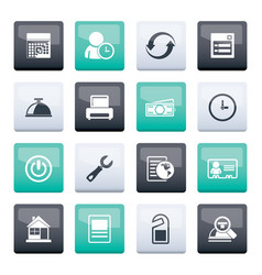 reservation and hotel icons over color background vector image