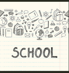 school student material book pencil paper kid vector image
