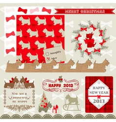 Scrapbook Design Elements - Vintage Christmas Dog vector image vector image