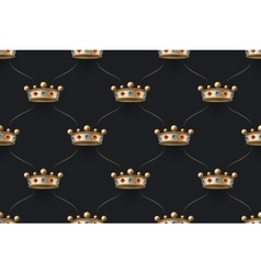 Seamless gold pattern with king crown with diamond vector