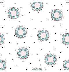 Seamless pattern with colored stylized diamond vector