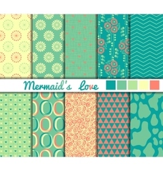 Set of 10 simple seamless patterns Mermaids Love vector