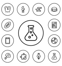 set of 12 editable science outline icons includes vector image
