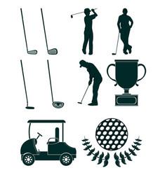 Set of golf sport equipment vector