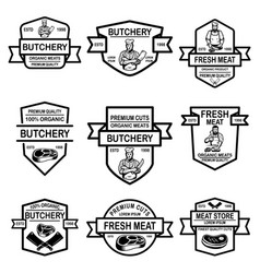 set of meat store labels design element for logo vector image
