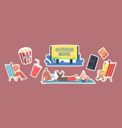 Set stickers outdoor movie open air cinema vector