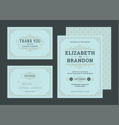 set wedding invitations cards with flourishes vector image