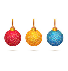 Shining christmas toys isolated on white vector