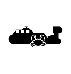 ship and crab icon vector image