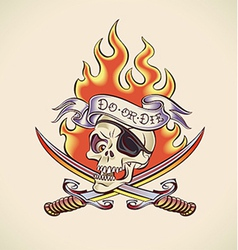 Skull pirate - tattoo design vector