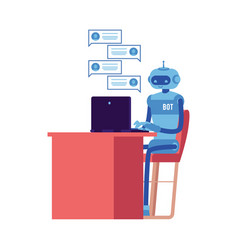 smiling chat bot at workplace behind laptop vector image